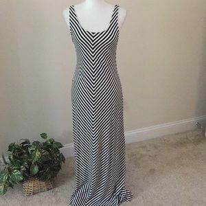 Merona maxi dress in navy blue and white